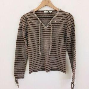 Odille Anthropologie Soft Wool Stripe Sweater